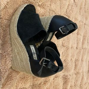Steve Madden Black Espadrilles Wedges Heels